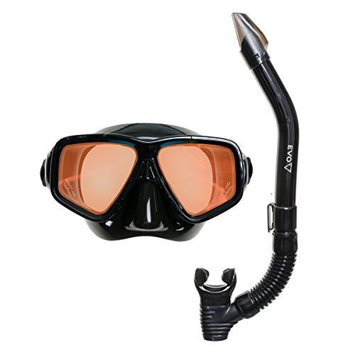 EVO Hi Definition Mask and Snorkel Combo - Dual Lens - Snorkel Mask Adult - Scuba Mask and Snorkel Set Adult - Scuba Diving Mask with Valve - Dive Mask - Scuba Diving Accessories - Scuba Gear