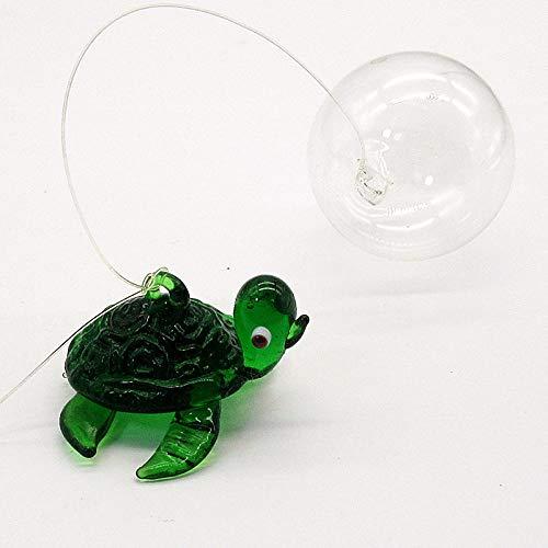 HUANSUN Estatuilla de Animal Marino en Miniatura de Vidrio Decorativo, Hecho a Mano, Tortuga Marina, pequeña Estatua, Adorno para pecera de Acuario, Verde, Aproximadamente 3 cm, 4 cm