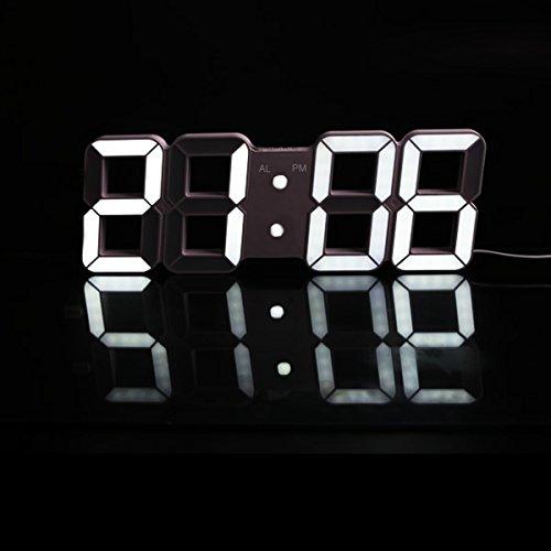 Besttimes Horloge LED Multifonctionnel Digital LED Wall Alarm Clock réveil Affichage de l'heure avec Alarme et Snooze Function Luminance Réglable