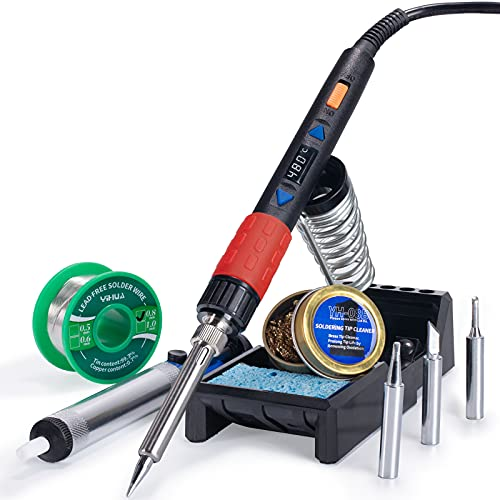 YIHUA 928D-III Portable Digital Soldering Iron Kit with Temperature Stabilization Function and LED Display for Soldering & Desoldering Stained Glass