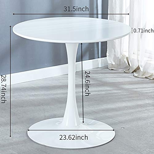 White Round Dining Table, Modern Tulip Dining Room Table for 2-4 People, Circle Coffee Table Small Minimalist Kitchen Furniture, MDF Top, Metal Pedestal Base, 31.5
