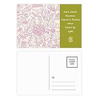 粉末の花の植物を描いてみた 詩のポストカードセットサンクスカード郵送側20個