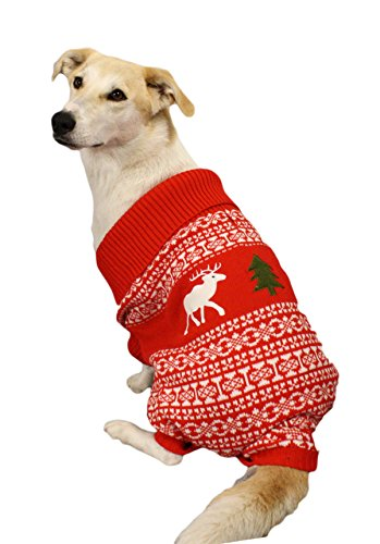 Festified Holiday Reindeer Dog Sweater (Red) - Christmas Dog Sweater (Medium)