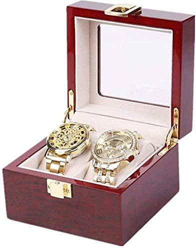 OH Mire el Cuadro de Alenamiento Pintura de Madera Highgrade Watch Box Pinte Jewelry Box Watch Storage Packaging For Glass Watch Dustral Seguro y fuerte/Rojo/E