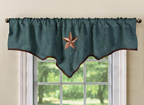 """Luxury Texas Western Embroidery Star Suede Valance Curtain Panel - 60""""x18"""" (Turquoise)"""