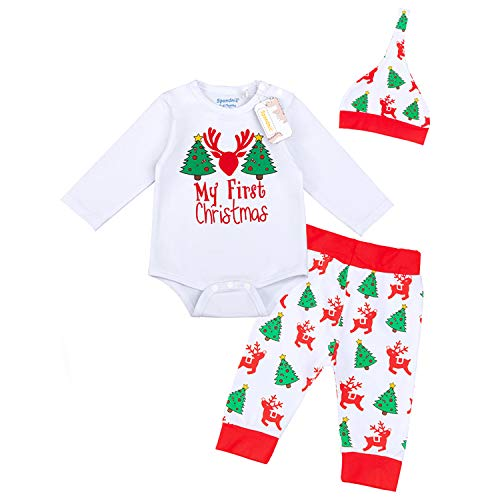 LENSOUS Baby Boys Girls Newborn 1st Christmas Outfit Long Sleeve Pants Set Pajamas (12-18 Months White