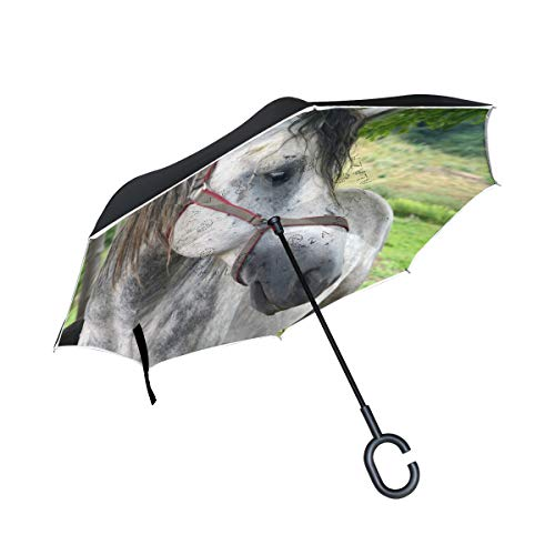 Find Bargain PNGLLD Animal White Horse Inverted Umbrella Double Layer Reverse Folding Umbrella with ...