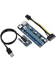 fasient Adaptador Mini PCI-E 16X, 6 Pines PCI-E PCI Express Riser ,1x a 16x Tarjeta de Adaptador de Riser Amplificada Mejorada Cable de Transmisión de SATA,Adaptador Cable Minería para Windows y Linux