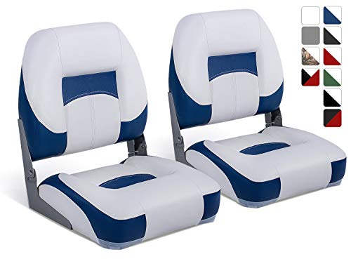 North Captain T1 Deluxe Low Back Folding Boat Seat (2 Seats), White/Blue,Stainless Steel Screws Included