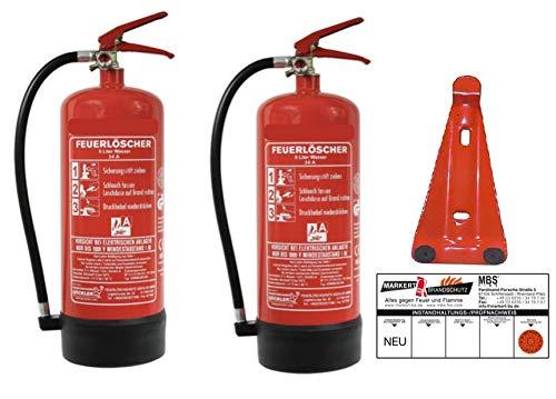 2x 6Liter Wasser Dauerdruck-Feuerlöscher DIN EN 3, GS + Wandhalter + Manometer + Standfuß, 34 A = 10 LE Wasserlöscher mit Instandhaltungsnachweis von MBS-FIRE