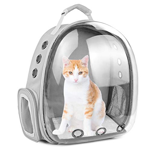 Cat Backpack Carrier Bubble,Large Transparent Pet Backpack Bag,Portable Ventilated Carry Backpack for Cat & Small Dog,Airline Approved Waterproof Pet Carrier Bag for Hiking Outdoor Use (Gray-1)