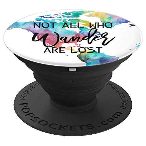 Not all who wander are lost Watercolor Globe Wanderlust PopSockets Grip and Stand for Phones and Tablets
