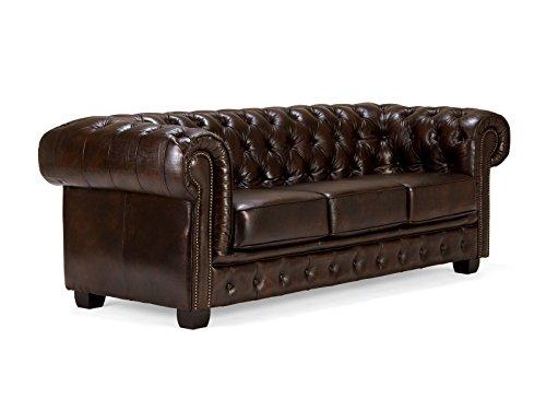 massivum Sofa Chesterfield 3-Sitzer 230x72x90 Echt-Leder braun Couch im englischen Stil mit Federkern-Polsterung