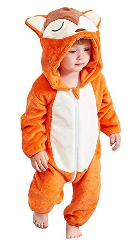 EOZY Pijama de beb unisex de invierno para nia, mono con capucha, diseo de cmic Outfits zorro X-Large