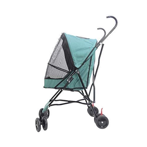 CTRGSM Nuevo coche plegable portátil ayuda perro gato cochecito bebé jaula coche cuatro ruedas viaje al aire libre cochecito carga 10kg verde FDWFN
