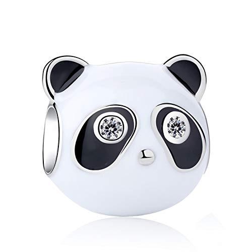 Diy Authentic 925 Sterling Silver Bead Black Enamel Clear Panda Charm Fit Bracelets Bangles Women Jewelry
