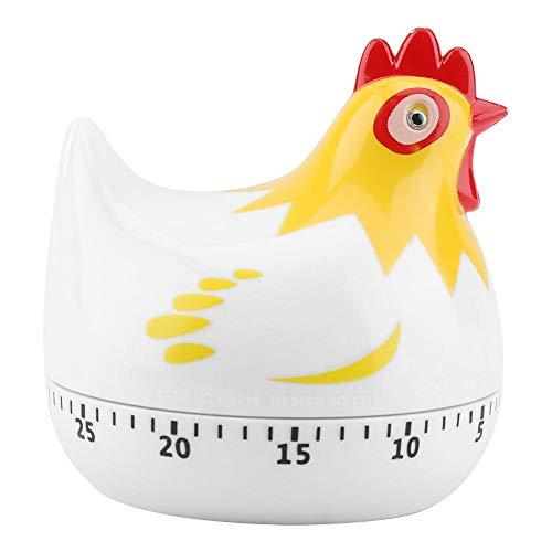 キッチンタイマー カウントダウン式 可愛い鶏 アナログ 電池不要 55分間 調理タイマー 調理・製菓道具 ベーキングリマインダー 大音量アラーム音 時計回り(ホワイト)