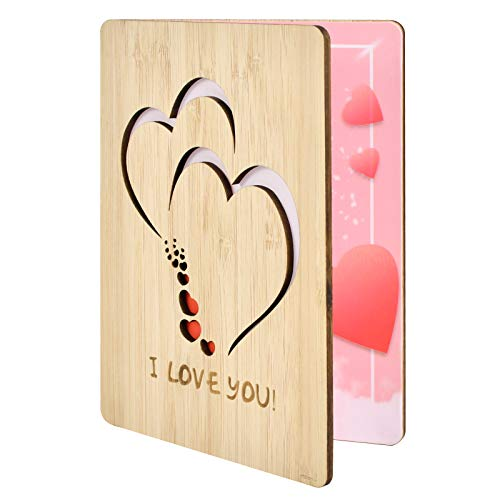 Lapogy I Love You Greeting Cards Handmade with Real Bamboo Wooden,Gift for Any Occasion,Anniversary Card;Mothers Day Card;Fathers Day Card;Valentines Day Card;Christmas Card,Gifts for Wife,Him,Or Her
