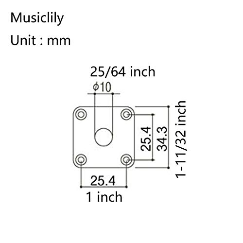 Musiclily Pro Plástico Curvada Jack Plate Placa Cuadrada para Jack Guitarra Gibson Epiphone Les Paul, Negro (Juego de 2)