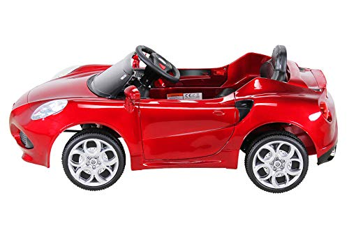 RC Auto kaufen Kinderauto Bild 2: Kinder Elektroauto ALFA Romeo 4c Lizenziert Original Kinderelektroauto Kinderfahrzeug Auto (Weinrot)*