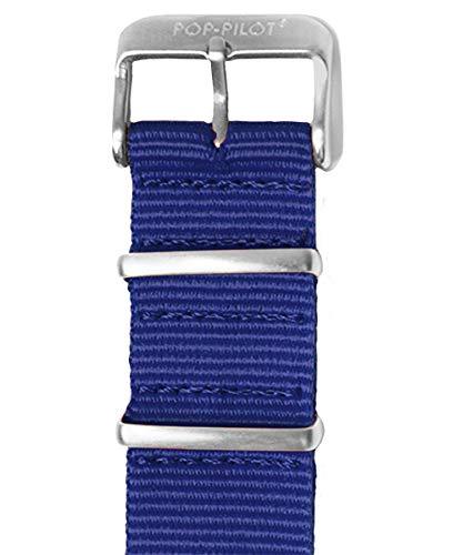 Pop Pilot Damen Stoff Uhrenarmband Dark-Blue L 22mm