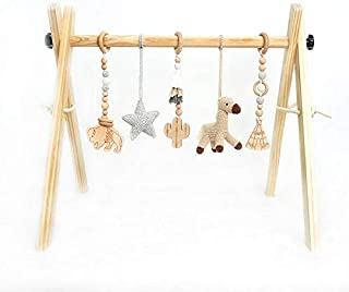 Wooden Play Gym for Baby Infant Activity Set Wild WEST Adventures Cowboy Natural Wooden Montessori Mobile Toys with Foldable Frame Play Gym Activity Set and Handmade Crochet Teething Toys