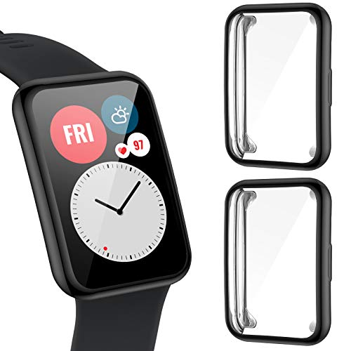 CAVN Protector de pantalla compatible con Huawei Watch Fit, [2 Pack] Cubierta Protectora de Marco a los rasguños TPU Protector de Pantalla de Cobertura Total para Huawei Watch Fit