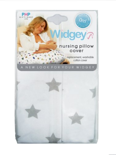 PHP Gift and Baby Widgey Nursing Pillow Cover with Stars (White/Grey)