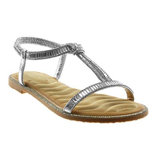 Angkorly - Damskie buty - Slip-On - Slip-On - T-Spange - Paski na kostki - Strass - Fantasy - błyszczący obcas blokowy 1 cm, srebrny - srebro - 37 eu