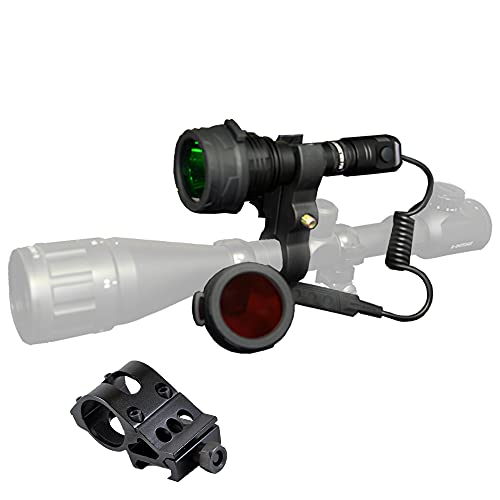 Nitecore P30 1000 Lumens 676 Yards Red and Green Rechargeable Hunting Light with Lumentac Rifle Mounting Kit for Hog Coyote and Varmint Hunting (Medium, Gift Box Packaging)