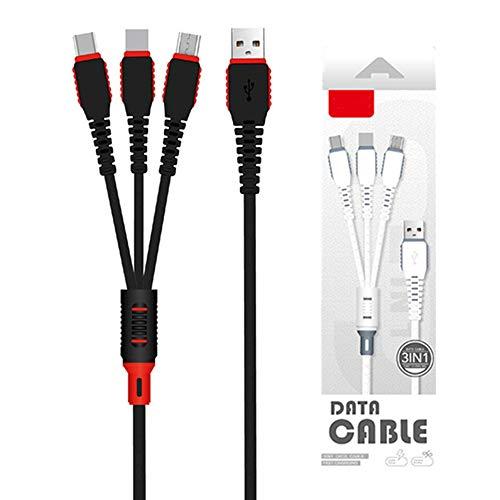 NJZYB Multi Cable de Carga, Universal 3 en 1 Adaptador de Carga del Cable, Trenzado de Nylon de Carga rápida del Cable con el Tipo C y Micro Puerto USB, para teléfonos celulares y tabletas Más,Negro