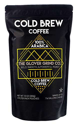 The Glover Grind Co - 4 Cold Brew Coffee Packs 100 Arabica Single Origin Colombian Coffee Kosher Makes up to 125 Gallons Less Acidic Smooth Powerful and Fresh Roast