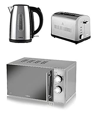 Silver Modern Tower Stainless Steel Kitchen Set - Silver 2 Slice Toaster and 1.7L Traditional Jug Kettle and a Silver Manual Microwave, 800 W, 20 L