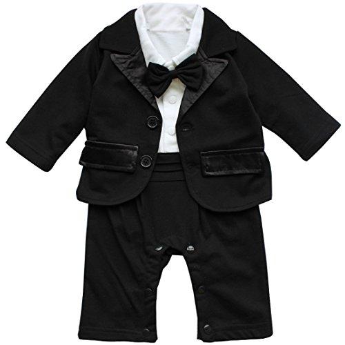 YiZYiF 2pcs Kleinkind Baby Jungen Bodysuit Tuxedo Trikotanzug Spielanzug Insgesamt Outfit mit Coat Mantel Taufe Smoking Anzug 0-24 Monate (Weiß + Schwarz, 3-6 Monate (Herstellergröße: 80))