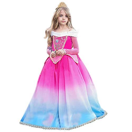 Costumi Bambina Principessa Aurora La Bella addormentata Vestito Carnevale Lunga Manica Festa Nuziale Compleanno Cerimonia Abito Ragazze Comunione Natale Fiore Nozze Gonna Elegante Battesimo 7-8 Anni