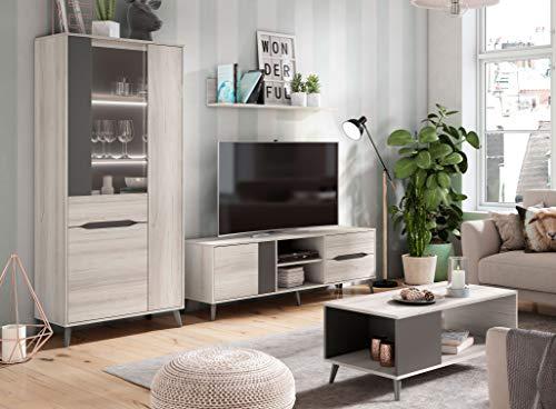 Conjunto Salon Shamal y Pizarra Atenea III Moderno (Mueble TV + Mesa Centro + Vitrina + Estante)