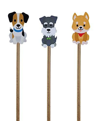 Partystrolch 3 Süße Hunde-Bleistifte mit Hund-Radiergummis – prima für Welpen- und Hunde-Kindergeburtstage und Farm-Bauernhof-Baby-Partys