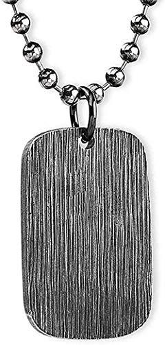 Collar con colgante de placa de perro de acero personalizado de titanio grueso grabado para hombres, mujeres, collar con colgante de cadena cepillada negra de 28 pulgadas para mujeres y hombres