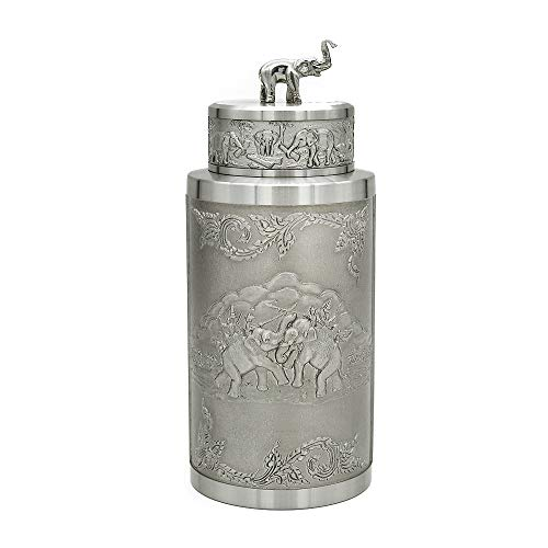 Oriental Zinn–Zinn Aufbewahrungsbox für Teebeutel, Caddy–tpcm1e- handgeschnitzt Beautiful geprägt reinem Zinn 97% bleifreies Zinn handgefertigt in Thailand