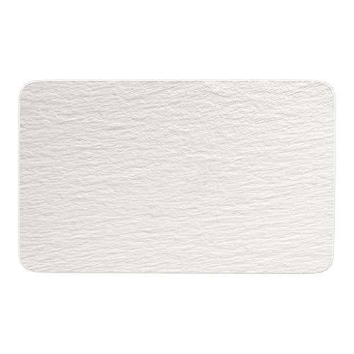 Villeroy & Boch - Manufacture Rock blanc Multifunktionsteller rechteckig, schöner Universalteller aus Premium Porzellan, spülmaschinengeeignet, weiß
