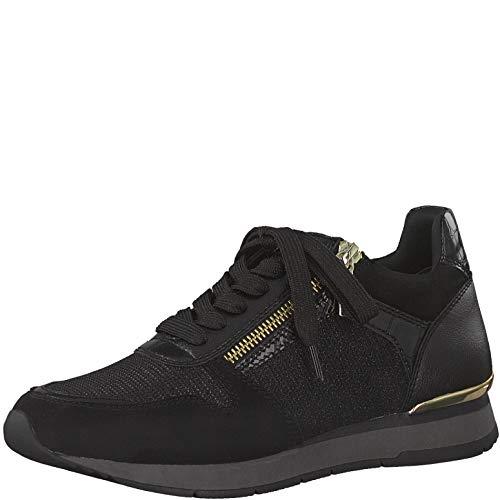 Tamaris Damen Schnürhalbschuhe, Frauen sportlicher Schnürer,lose Einlage, Halbschuh schnürschuh strassenschuh Sneaker,Black/Gold,39 EU / 5.5 UK
