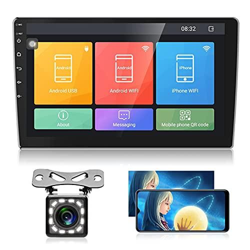 Android Autoradio 2 Din GPS Podofo Bluetooth 9  Touch Screen Navigation WiFi Controllo del volante Mirrorlink Radio FM Doppia USB +Telecamera Posteriore