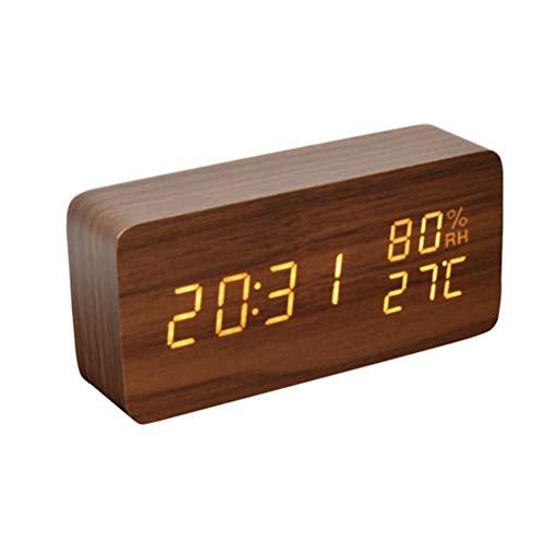 BSTOB Reloj Despertador Digital, LED de Brillo Ajustable Control de Voz Reloj de Escritorio Reloj Despertador de Madera con Fecha Pantalla de Temperatura y Humedad para la Escuela Oficina en casa