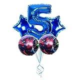 Djujiabh Ballons 5pcs Spiderman Film Ballons Numéro 1 2 3 4 5 6 7 8 9st Super Hero Birthday Party Décor Jouets d'enfants (Color : Blue 5)