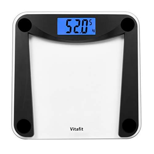 Vitafit Báscula de Baño Digital de Alta Medición Precisa 180kg/400lbs/28st con Tecnología Step-On,Pantalla Grande Retroiluminación,Negro