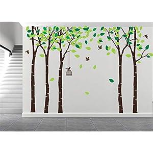 AmazingWall 180X264cm/70.9×103.9 Cartoon Large Tree Wall Sticker Living Room Bedroom Kids' Room Nursery Decor Home Decorations Removeable 1PCS/Set