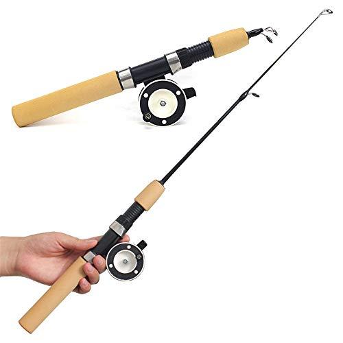 Yuxahiugyg Caña de Pescar Pesca del Metal 1pc Invierno del Carrete de la Pesca del Hielo Roces Mini Flexible elástico de Carbono del Bastidor de Cebo de Rod Anti Slip Madera Color de la manija