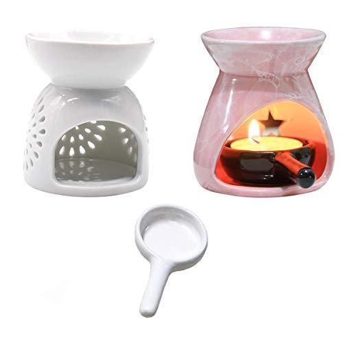 Xiuyer Bruciatore Olio Ceramica Diffusore, 2 Bruciatore Olio Ceramica Bianca + Cucchiaio Candela per Soggiorno Decorativo Ufficio Yoga Spa