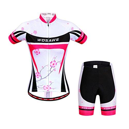 GWELL Damen Blumen Fahrradbekleidung Set Trikot Kurzarm + Radhose mit Sitzpolster XL