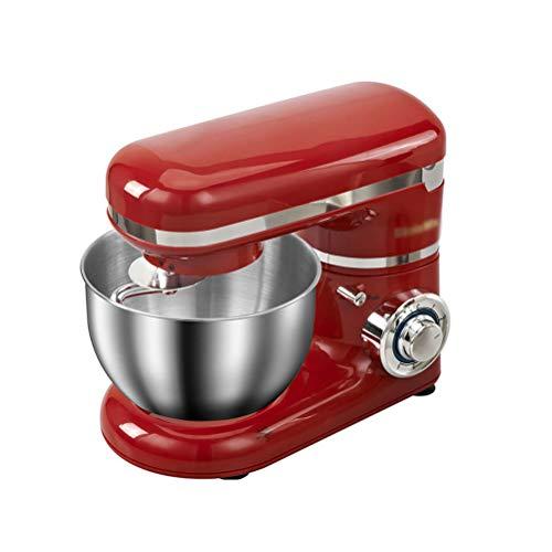 HSRG Batidora de vaso de cocina de 6 velocidades, con cabezal basculante, batidora eléctrica 3 en 1, batidor de varillas, gancho para amasar y protección contra salpicaduras, color rojo